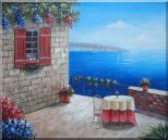 Lush Mediterranean Retreat Near the Sea Oil Painting Naturalism 20 x 24 inches