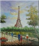 Romantic Walk Along Bank of the Seine Near Eiffel Tower Oil Painting Cityscape France Impressionism 24 x 20 inches