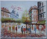 Boulevard Montmartre on a Romantic Evening Oil Painting Cityscape France Impressionism 20 x 24 inches