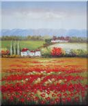 Tuscany Poppies Field in Italian Oil Painting Landscape Italy Impressionism 24 x 20 inches