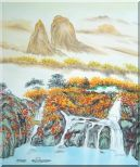 Mountain, Waterfall, Bridge, Hut and Lake Oil Painting Landscape Asian 24 x 20 inches