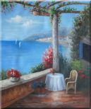 Mediterranean Flower Patio, Table, Chair, Seaview Oil Painting Naturalism 24 x 20 inches