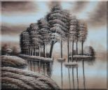 Trees and Reflections in a Light Brown Landscape Oil Painting Decorative 20 x 24 inches
