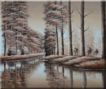 Two Rows of Trees and Reflections Along River Oil Painting Landscape Decorative 20 x 24 inches