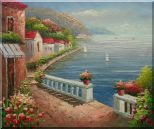 Mediterranean Dream Village Oil Painting Naturalism 20 x 24 inches