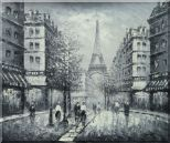 Memory of Eiffel Tower in Paris Black And White Oil Painting Cityscape France Impressionism 20 x 24 inches
