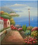 Mediterranean Seaside Walk with Flowers Oil Painting Naturalism 24 x 20 inches