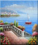 Flower Balcony Oversee Mediterranean Sea Oil Painting Naturalism 24 x 20 inches