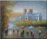 Rainy Day Near Notre Dame Cathedral Oil Painting Cityscape France Impressionism 20 x 24 inches