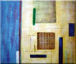 Patchwork with Blue, Orange and Green Oil Painting Nonobjective Modern 20 x 24 inches