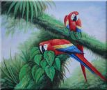 Red and Blue Macaw Resting on Branches of Tree Oil Painting Animal Parrot Naturalism 20 x 24 inches