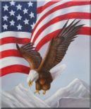 Bald Eagle Flying by American Flag Oil Painting Animal Naturalism 24 x 20 inches