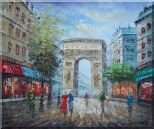 Twilight At Arc de Triomphe of Paris Oil Painting Cityscape France Impressionism 20 x 24 inches