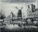 Moulin Rouge in Black and White Oil Painting Cityscape Impressionism 20 x 24 inches