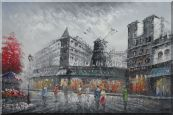 People Walk On Street Near Moulin Rouge of Paris Oil Painting Cityscape France Impressionism 24 x 36 inches