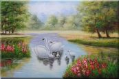 Pair of Adult Swans with Four Cygnets in Colorful Lake Oil Painting Animal Classic 24 x 36 inches