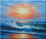 Beautiful View of the Ocean from the Shore in New Dawn Oil Painting Seascape Naturalism 20 x 24 inches