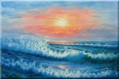 Beautiful View of the Ocean from the Shore in New Dawn Oil Painting Seascape Naturalism 24 x 36 inches
