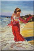 Girl With Long Red Skirt Enjoy Herself in Beach Water Oil Painting Portraits Woman Impressionism 36 x 24 inches