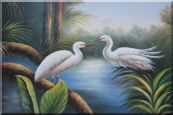 Pair of Great White Egrets Pond Oil Painting Animal Bird Heron Naturalism 24 x 36 inches