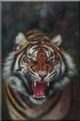A Powerful Roaring Tiger Oil Painting Animal Classic 36 x 24 inches