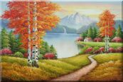 Lake Autumn Trees and Alaska Snow-Covered Range Oil Painting Landscape Naturalism 24 x 36 inches