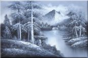 Black and White Small Waterfall in a Quiet Landscape Oil Painting Naturalism 24 x 36 inches