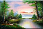 Calm Lake at the Crack of Dawn within Forest Oil Painting Landscape River Naturalism 24 x 36 inches