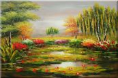 Waterlily Pond, Weeping Willow and Flowers Oil Painting Landscape River Naturalism 24 x 36 inches