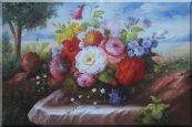 Beautiful Still Life Flowers In Outdoor Setting Oil Painting Bouquet Classic 24 x 36 inches
