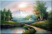 Small Pond Under Snow Mountain Oil Painting Landscape Naturalism 24 x 36 inches