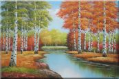 Beautiful Fall Forest Nature Scenery With Stream Passing Through Oil Painting Landscape Tree Autumn Naturalism 24 x 36 inches