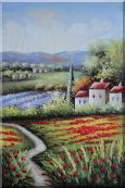 Gorges Tuscany Red Poppy Flower Fields Oil Painting Landscape Italy Naturalism 36 x 24 inches