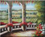 Tuscany Patio Surrounded by Vineyard Winery Oil Painting Landscape Field Italy Naturalism 20 x 24 inches