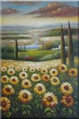 Tuscany Sunflower Field View Oil Painting Landscape Naturalism 36 x 24 inches