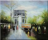 Arc de Triomphe and Avenue des Champs Elysees Oil Painting Cityscape France Impressionism 20 x 24 inches