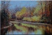 Reflections of Beautiful Golden Trees in Quiet River Oil Painting Landscape Autumn Naturalism 24 x 36 inches