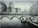 Black White Eiffel Tower Seine River Bridge Oil Painting Cityscape Impressionism 36 x 48 inches