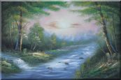 Flowing Water Stream and Forest Oil Painting Landscape River Naturalism 24 x 36 inches