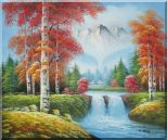Small Waterfall Scenery in Autumn Oil Painting Landscape Naturalism 20 x 24 inches