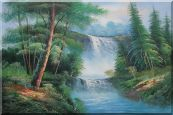 Great Waterfall Scenery, Trees Oil Painting Landscape Naturalism 24 x 36 inches