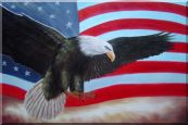 Flying Bald Eagle / American Flag Oil Painting Animal Naturalism 24 x 36 inches