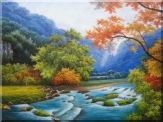 Water Stream in a Gorgeous Landscape with Mountain and Trees Oil Painting River Naturalism 36 x 48 inches