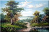 A Village Road Along the River Oil Painting Landscape Classic 24 x 36 inches