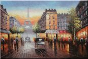 Busy Street, Eiffel Tower on the Dusk Oil Painting Cityscape France Impressionism 24 x 36 inches