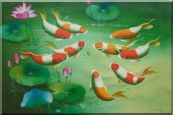 Nine Colorful Fishes Play around Pink Waterlilies Oil Painting Animal Marine Life Asian 24 x 36 inches