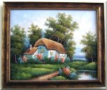 Lakeside Small House Rural Scenery Oil Painting Village Naturalism 20 x 24 inches