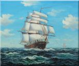 Big Fully Rigged Masted Ship Sailing on the Ocean Oil Painting Boat Classic 20 x 24 inches