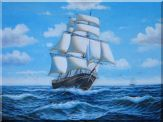 Big Fully Rigged Masted Ship Sailing on the Ocean Oil Painting Boat Classic 36 x 48 inches