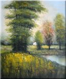 Small Pond Surround By Green Trees Oil Painting Landscape Impressionism 24 x 20 inches